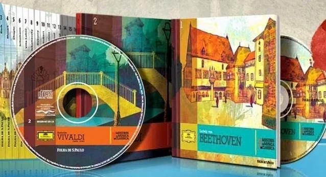 Coleção Folha Mestres da Música Clássica 25 Livros - Cd Com Caixa-Box