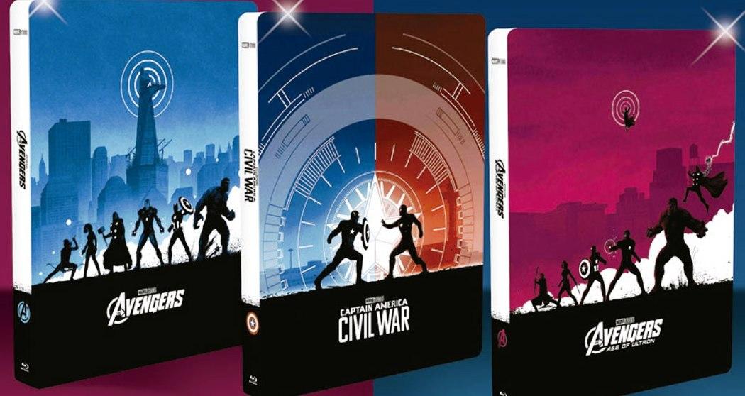 Coleção SteelBooks da Marvel - Vingadores - Era de ULtron - Guerra Civil - 3 Blu-rays